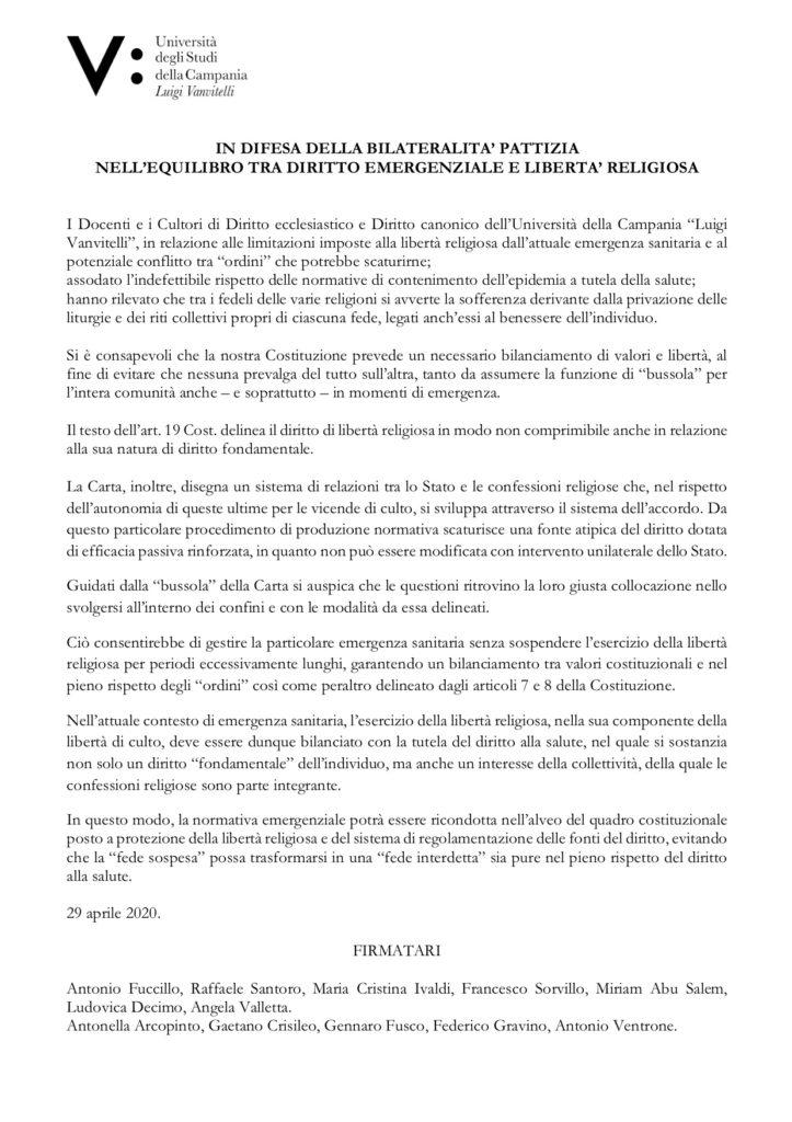 IN DIFESA DELLA BILATERALITA' PATTIZIA NELL'EQUILIBRO TRA DIRITTO EMERGENZIALE E LIBERTA' RELIGIOSA